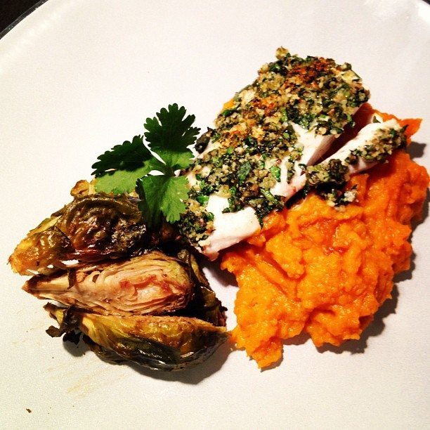 herb and almond crusted snapper