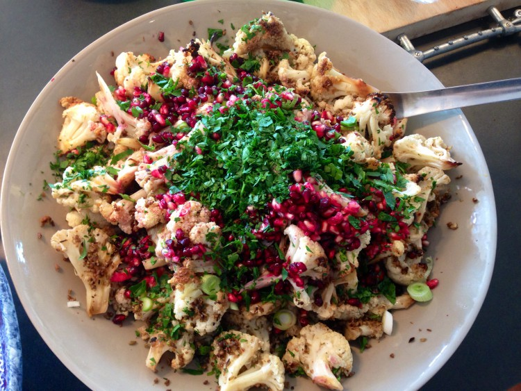 Cauliflower and pomegranate salad
